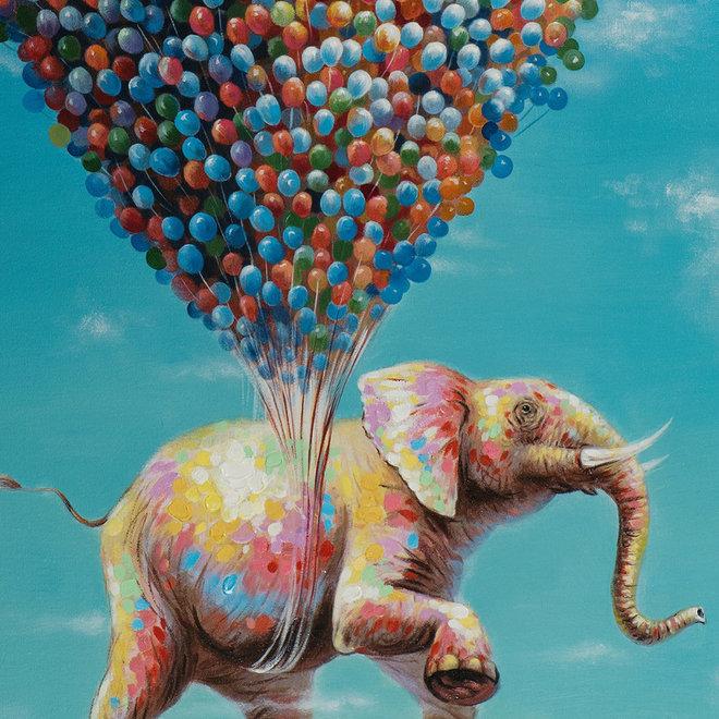 Canvas schilderij Olifant aan ballonnen