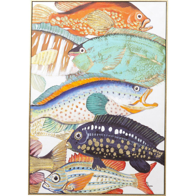 Canvas schilderij Touched Fish Meeting Two Framed 100x75