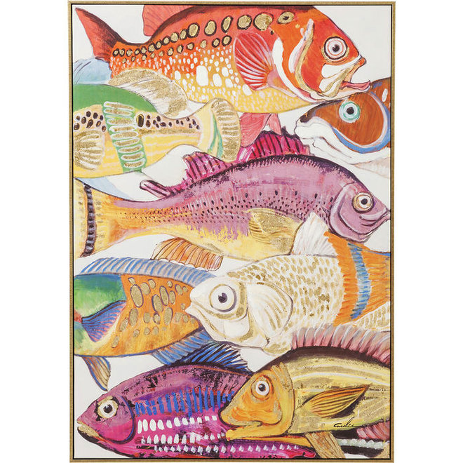 Painting Touched Fish Meeting One 100x75