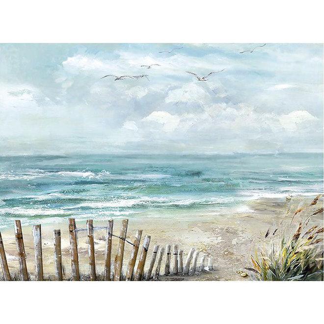 Canvas schilderij Beach, wooden fence 60x80