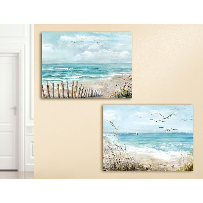 Canvas schilderij Beach, sailboat 60x80