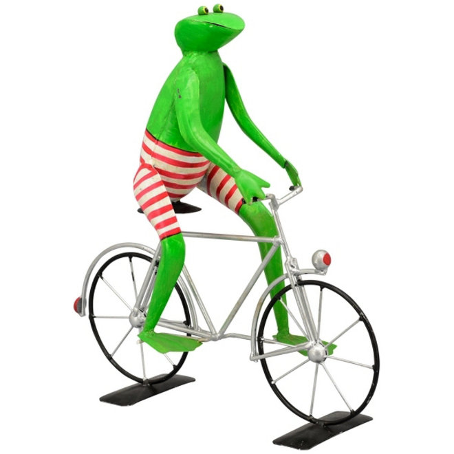 Metalen Kikker op fiets in rode broek