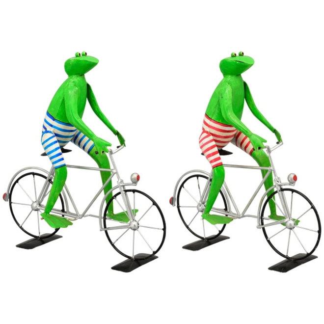 Metalen Kikker op fiets in blauwe broek
