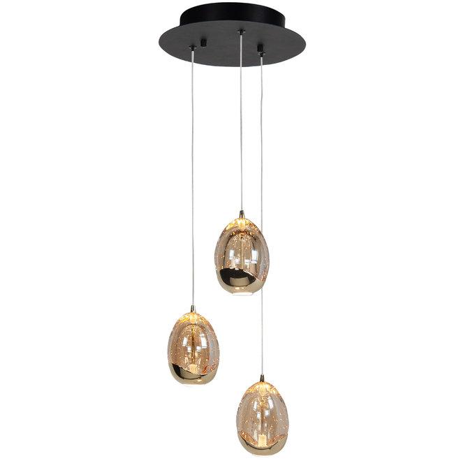 Hanglamp Golden Egg, rond 3-lichts