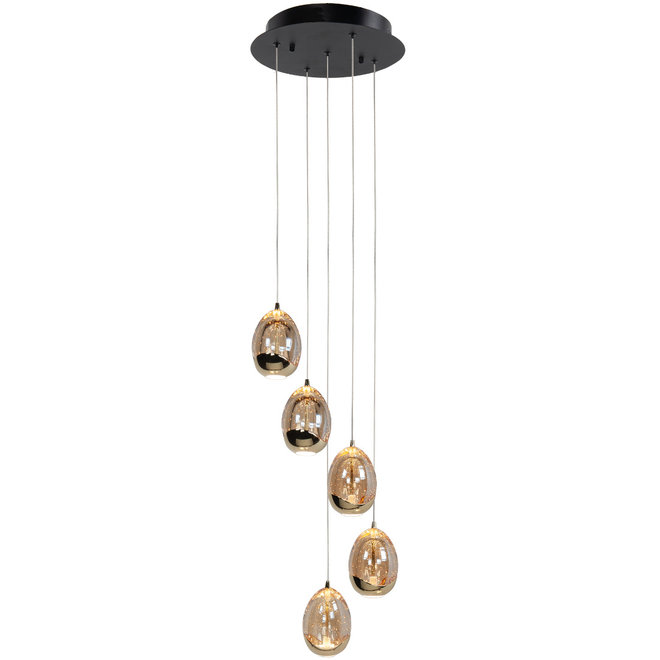 Hanglamp Golden Egg, rond 5-lichts