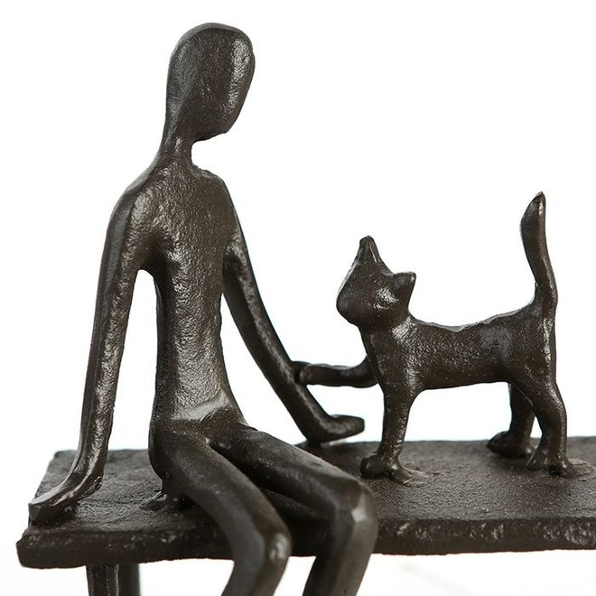 Metal-Sculpture 'Woman with cat'