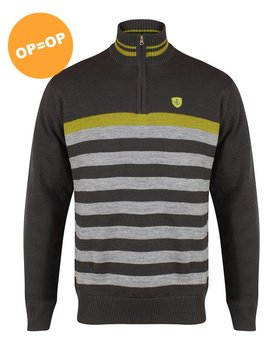 Island Green 1/2 Zip Striped Lined Golf Trui - Donker Grijs