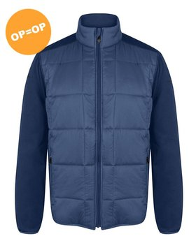 Island Green Quilted Panel Jacket - Blauw