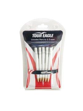 TourEagle Houten potloden met gum- 5 stuks
