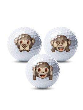 Emoji Novelty pack Aap- 3 golfballen