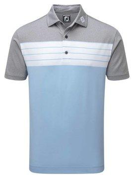 FootJoy Pique Striped Colour Block Polo - Licht Blauw/Grijs/Wit