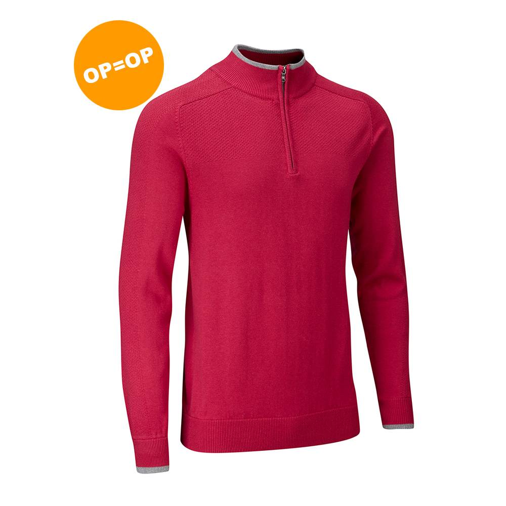 Stuburt Vapour Casual Half Zip Lined Sweater - Berry (Rood)