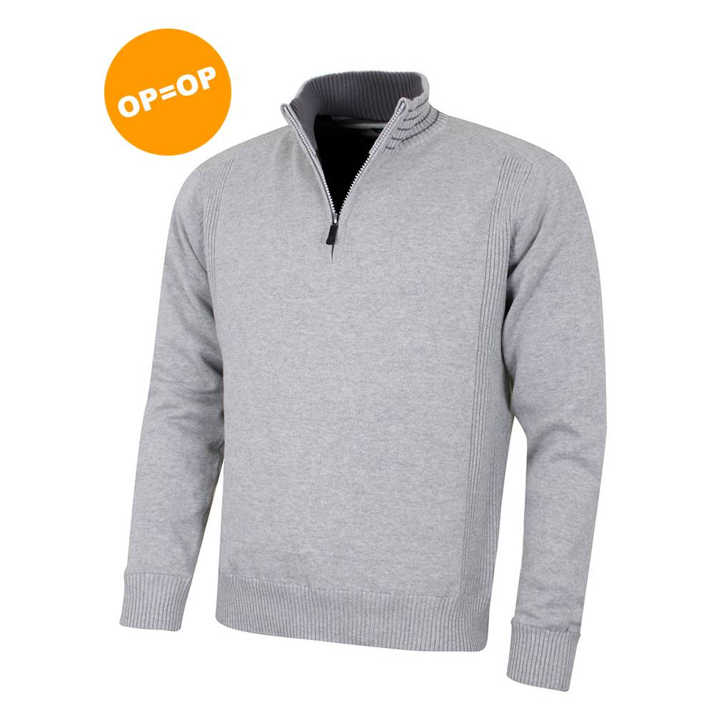 Island Green 1/4 Zip Windproof Golf Sweater - Licht Grijs