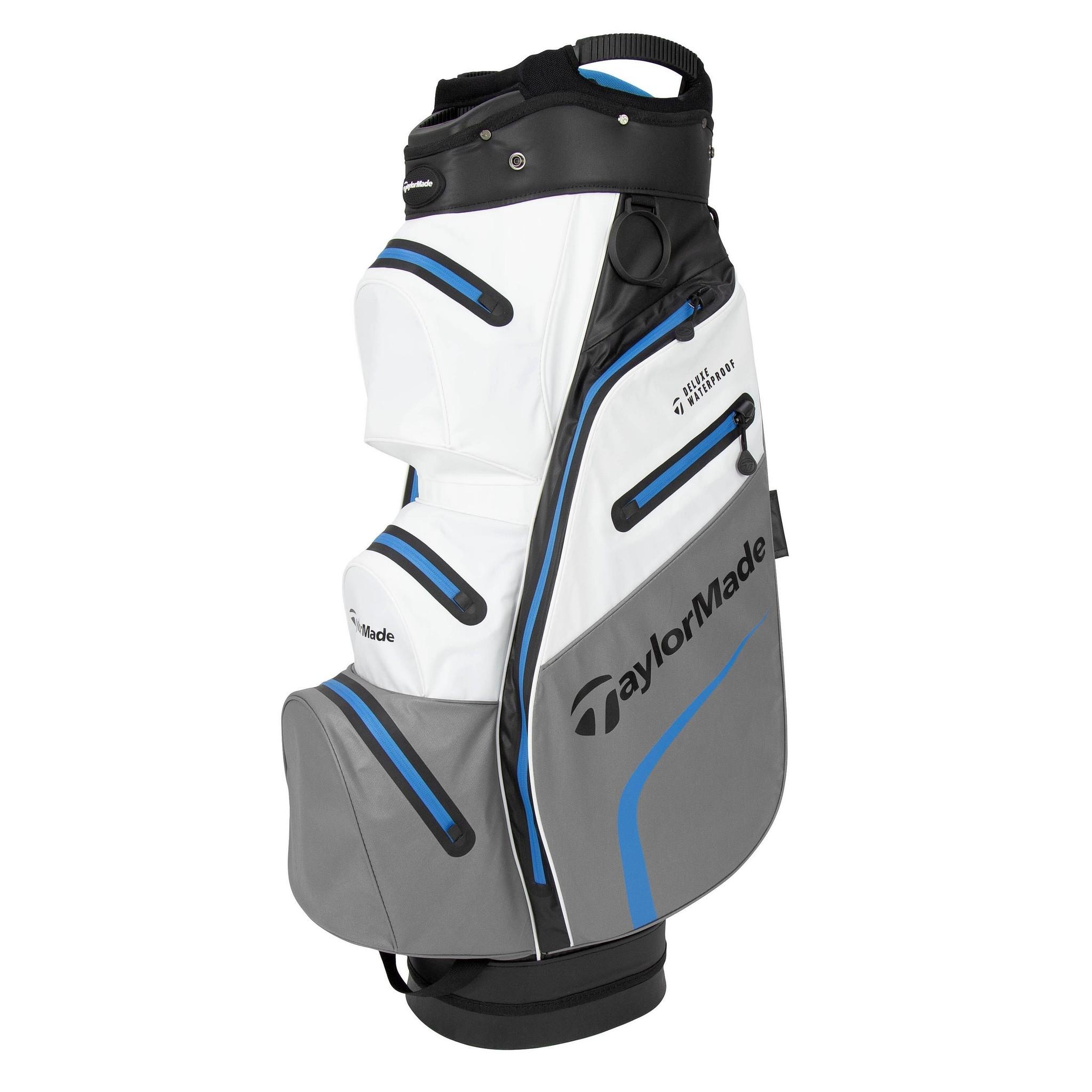 TaylorMade Delux Waterproof Golf Cartbag - Wit/Grijs/Blauw