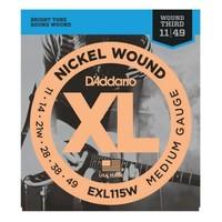 D'Addario EXL115W Nickel Wound 11-49 Medium/Blues-Jazz Rock, Wound 3rd