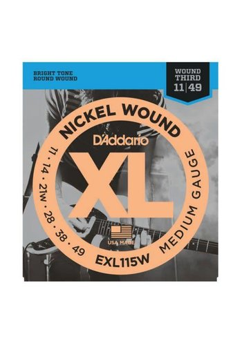 D'Addario D'Addario EXL115W Nickel Wound 11-49 Medium/Blues-Jazz Rock, Wound 3rd
