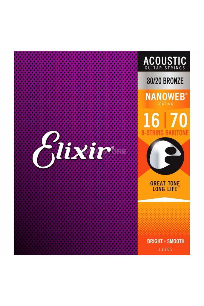 Elixir 11308 8-String Baritone 80/20 Bronze 016-070