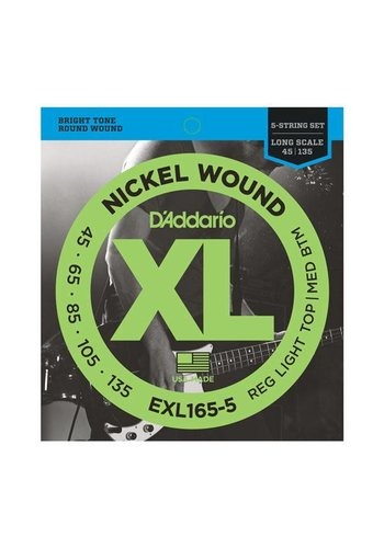 D'Addario D'Addario EXL165-5 5-String Nickel Wound Bass Guitar Strings Custom Light Long Scale 45-135