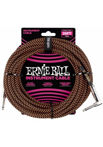 Ernie Ball Ernie Ball Braided Instrument Cable Neon Orange/Black Straight-Angled 7.62m