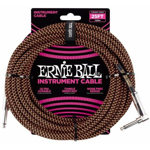 Ernie Ball Ernie Ball Braided Instrument Cable Neon Orange/Black Straight-Angled 7.62m