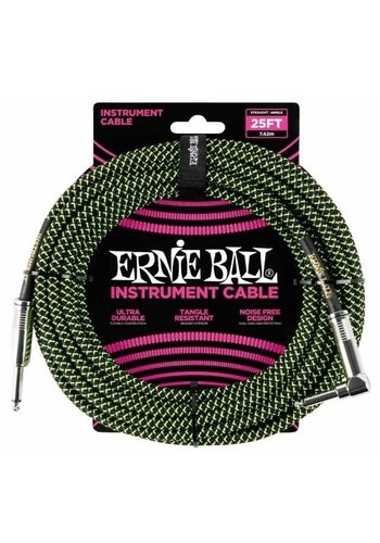Ernie Ball Ernie Ball 6066 Braided Instrument Cable Neon Green/Black Straight-Angled 7.62m