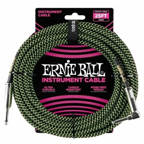 Ernie Ball Ernie Ball Braided Instrument Cable Neon Green/Black Straight-Angled 7.62m