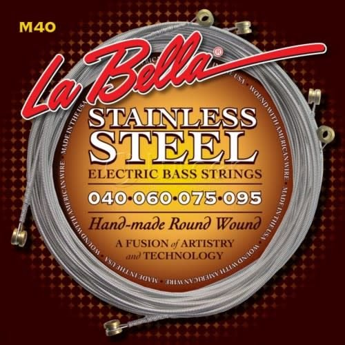 La Bella LaBella M40 Stainless Steel Round Wound Bass Strings 4-String Extra Light 40-95