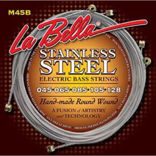 La Bella LaBella M45B Stainless Steel Round Wound Bass Strings, 5-String Light 45-128