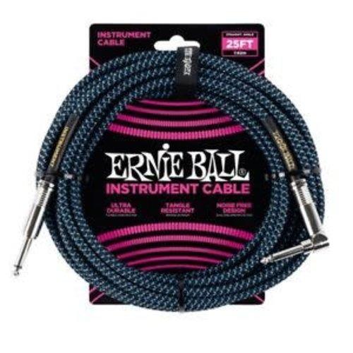 Ernie Ball Ernie Ball Braided Instrument Cable Black/Blue Straight-Angled 7.62m