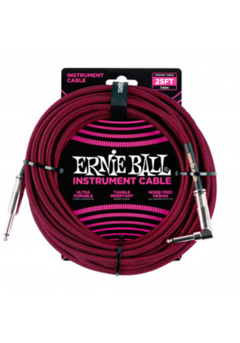 Ernie Ball Ernie Ball 6062 Braided Instrument Cable Black/Red Straight-Angled 7.62m