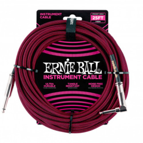 Ernie Ball Ernie Ball Braided Instrument Cable Black/Red Straight-Angled 7.62m