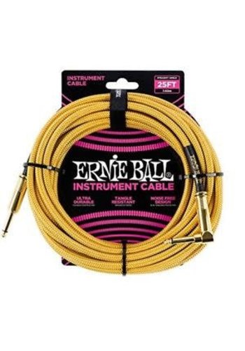 Ernie Ball Ernie Ball Braided Instrument Cable Gold Straight-Angled 7.62m