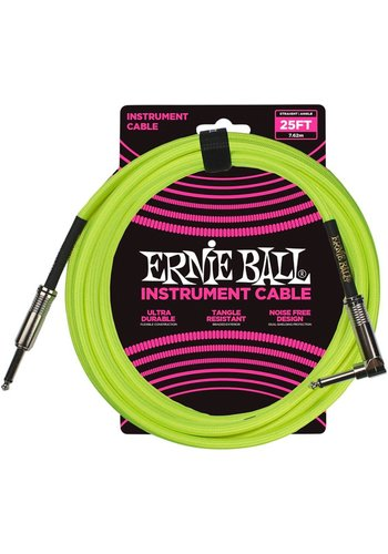 Ernie Ball Ernie Ball Braided Instrument Cable Neon Yellow Straight-Angled 7.62m
