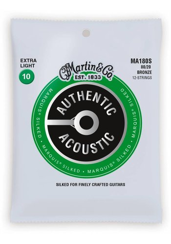 Martin Strings Martin MA180S Authentic Silked 12-String 80/20 Bronze Extra Light 10-47