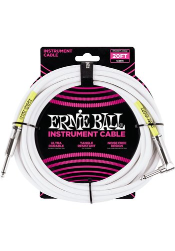 Ernie Ball Ernie Ball 6047 Guitar Cable 20ft Straight Angled White