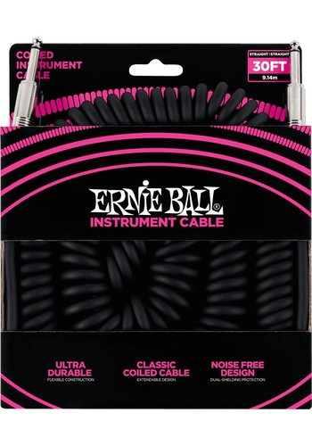 Ernie Ball Ernie Ball 6044 Coil Cable Black Straight Straight 30ft
