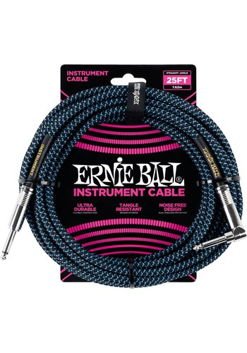 Ernie Ball Ernie Ball 6060 Braided Instrument Cable Black and Blue 7.62M