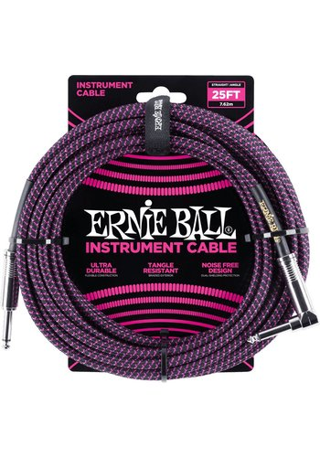 Ernie Ball Ernie Ball Braided Instrument Cable Black Purple 7.62M