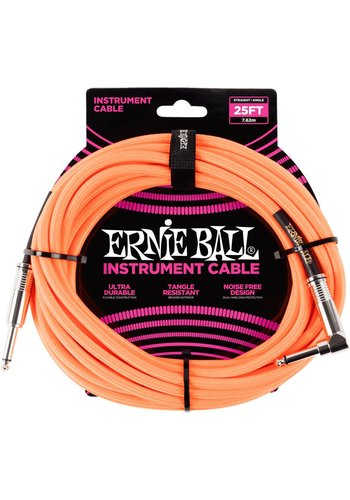Ernie Ball Ernie Ball Braided Instrument Cable Orange Fluor 7.62M