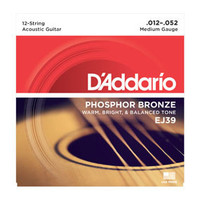 D'addario EJ39 12-String Phosphor Bronze Medium 12-52