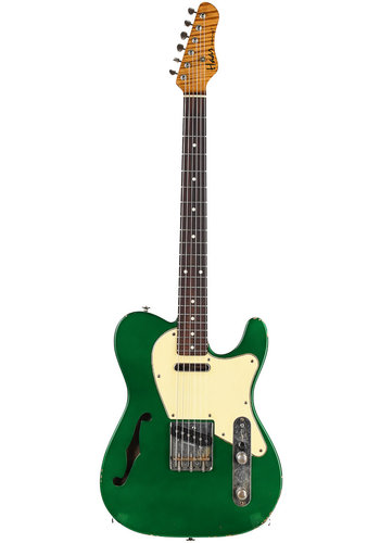 Haar Haar Trad T  Thinline Candy Apple Green Flamed Neck Rosewood Fretboard