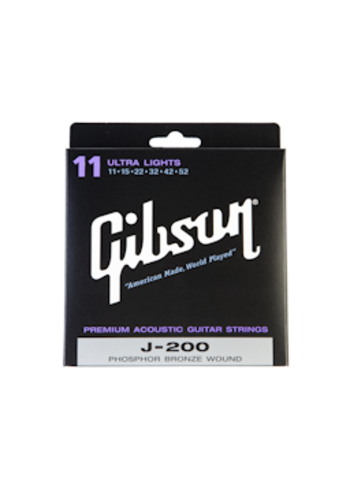 Gibson Gibson J200 Acoustic Guitar Strings Phosphor Bronze Ultra Lights 11-52