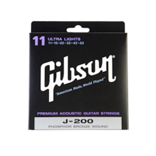 Gibson Gibson J200 Acoustic Guitar Strings Phosphor Bronze Ultra Lights 11-52