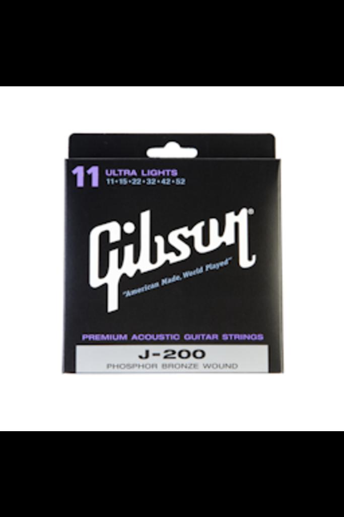 Gibson J200 Acoustic Guitar Strings Phosphor Bronze Ultra Lights 11-52