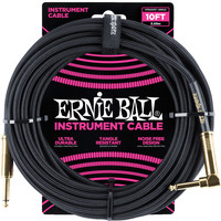 Ernie Ball 6081 Braided Instrument Cable Black Straight-Angled 3.05m