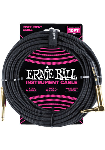 Ernie Ball Ernie Ball 6081 Braided Instrument Cable Black Straight-Angled 3.05m