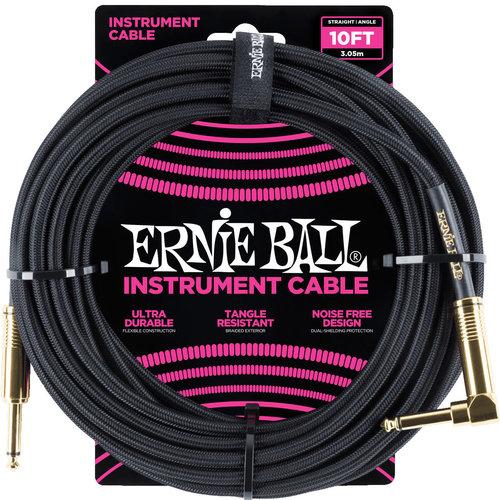 Ernie Ball Ernie Ball 6081 Braided Instrument Cable Black Straight-Angled 3.05m
