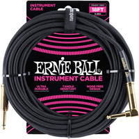 Ernie Ball 6086 Braided Instrument Cable Black Straight Angled 5.49M