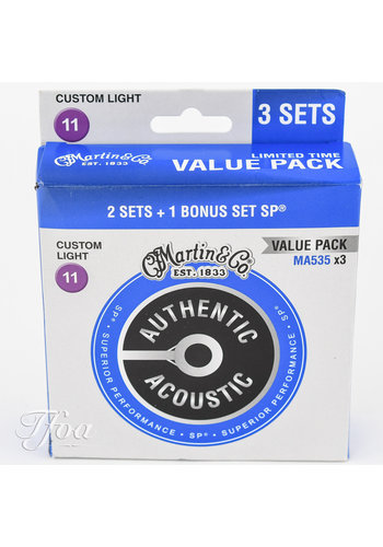 Martin Strings Martin MA535PK3 3-Pack Phosphor Bronze - 11-52 strings