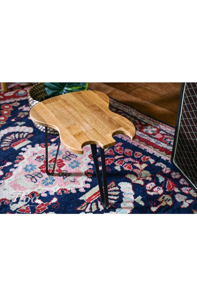 Ruwdesign Solid Oak Guitar Side Table Double Cut
